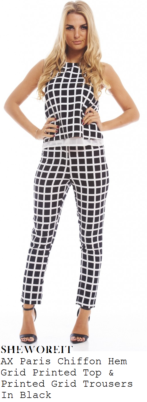 chloe-sims-black-and-white-grid-print-sleeveless-mesh-hem-top-and-trousers-co-ords