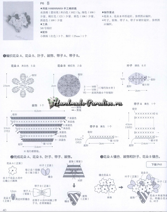 Схемы вязания цветов и других украшений для создания аксессуаров