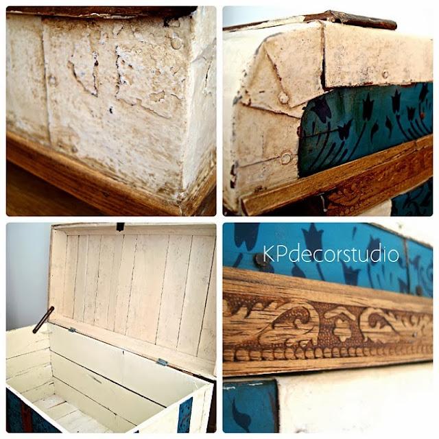 Muebles vintage decapados, baúles antiguos restaurados de madera y chapa. Baules baratos en valencia