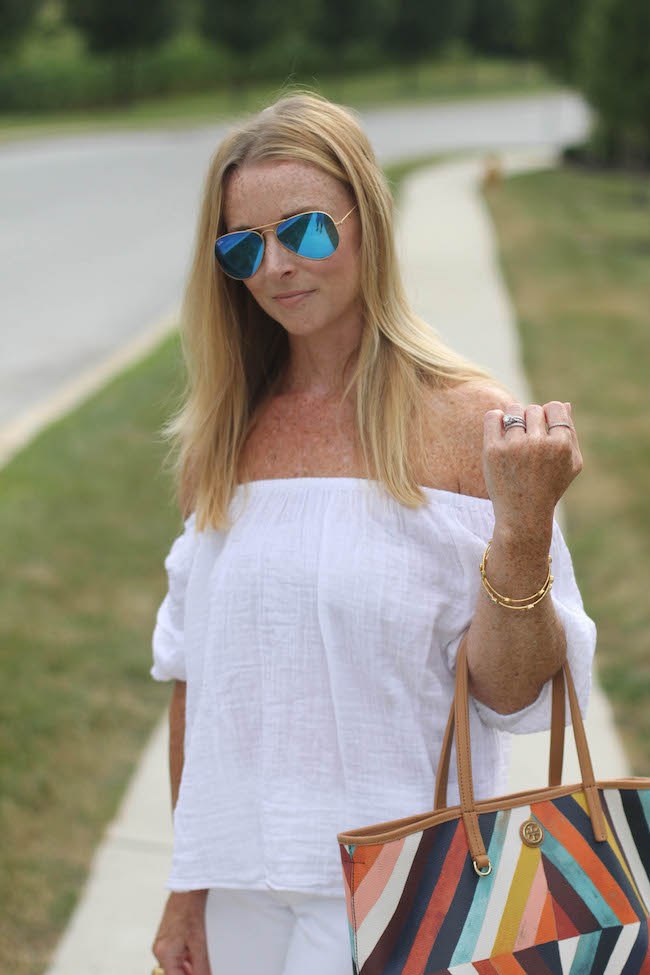 loft shirt, old navy jeans, tory burch bag, kate spade heels, ray ban sunglasses