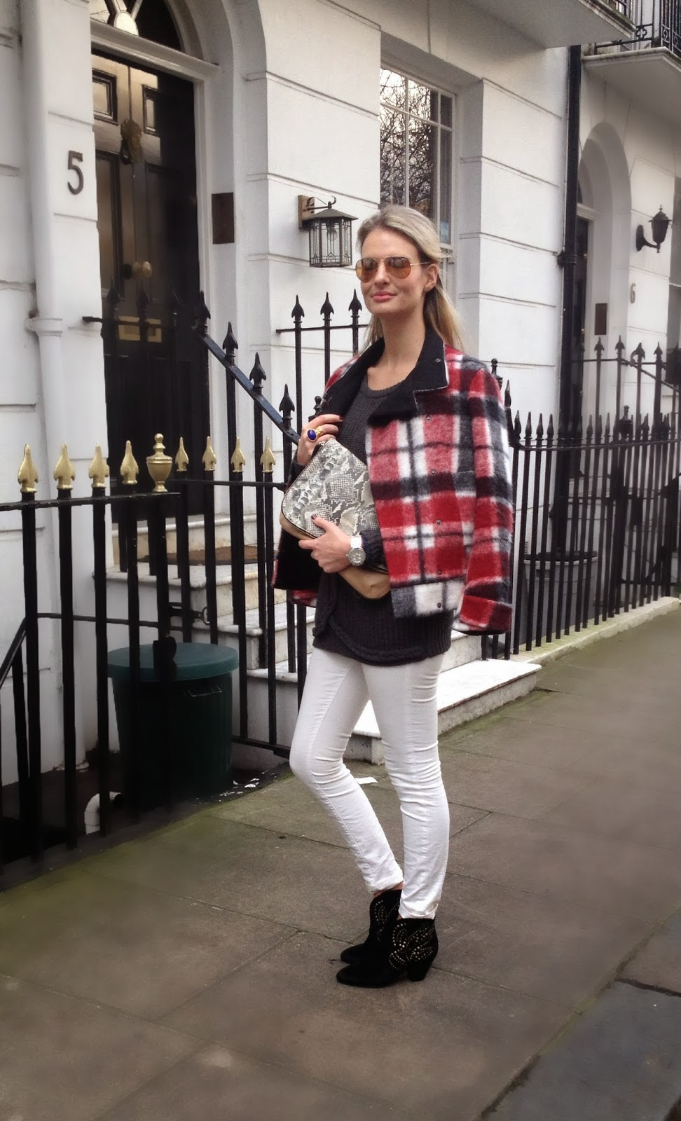 J brand, j brand jeans, white jeans, ash boots, isabel marant boots, checked jacket, plaid jacket, chrissabella blog