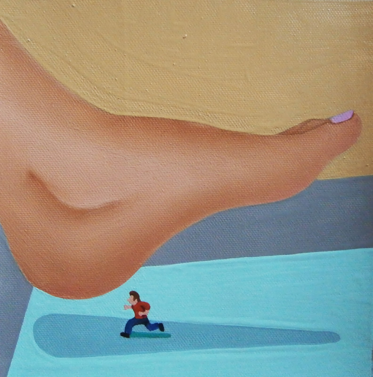 A shrunken man about to be stepped on by a woman's foot