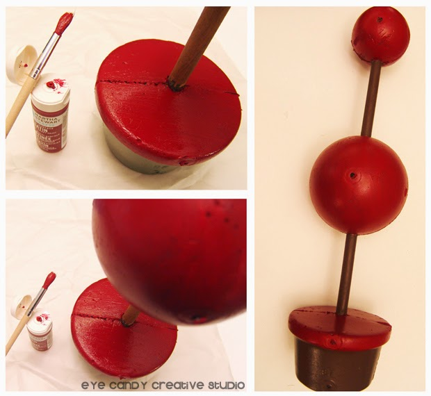 painting pole of topiary, martha stewart paint, burgundy & brown topiary