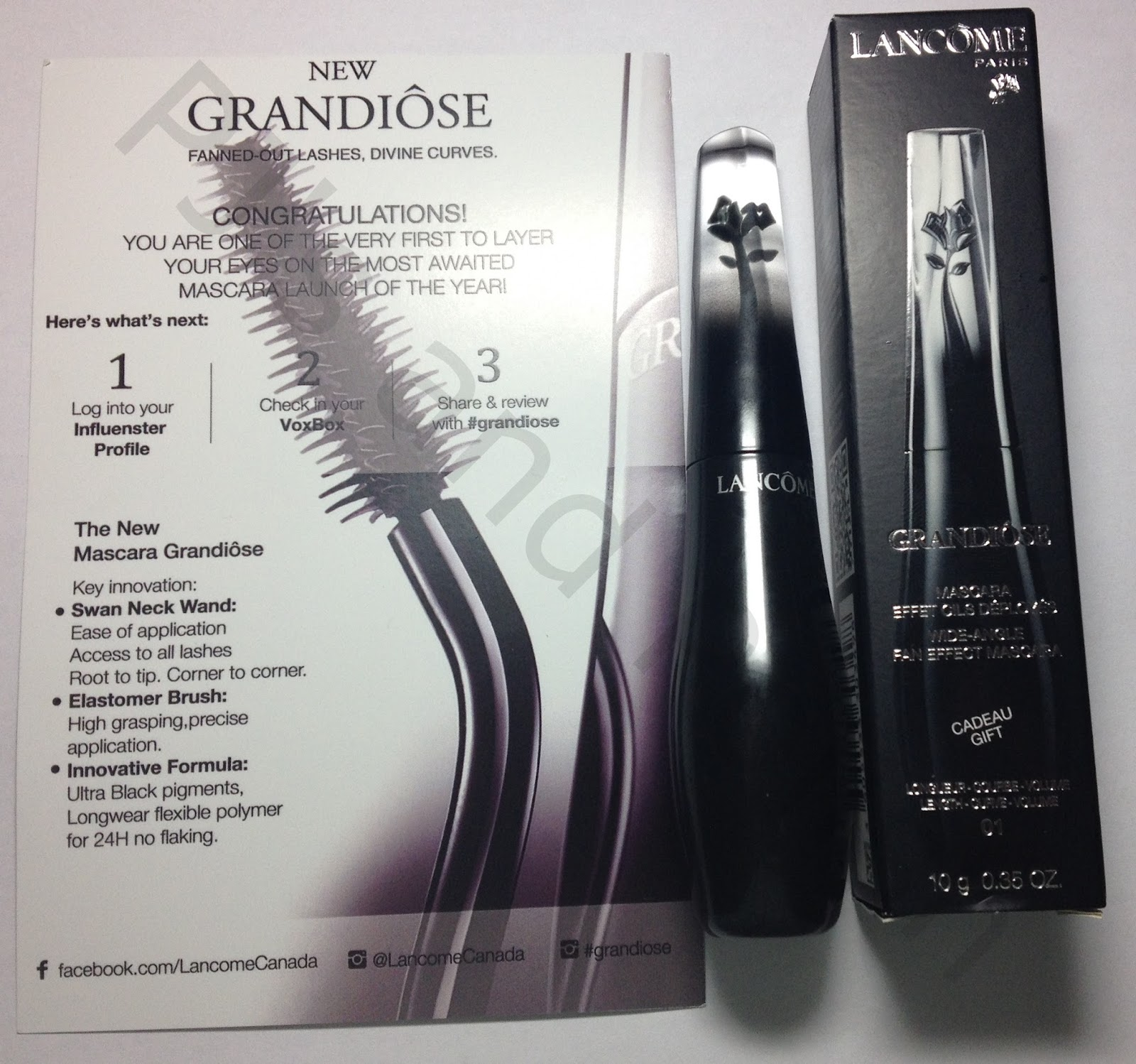 Swatch and Review Beauty Products Lancome Grandiose Mascara Influenster VoxBox