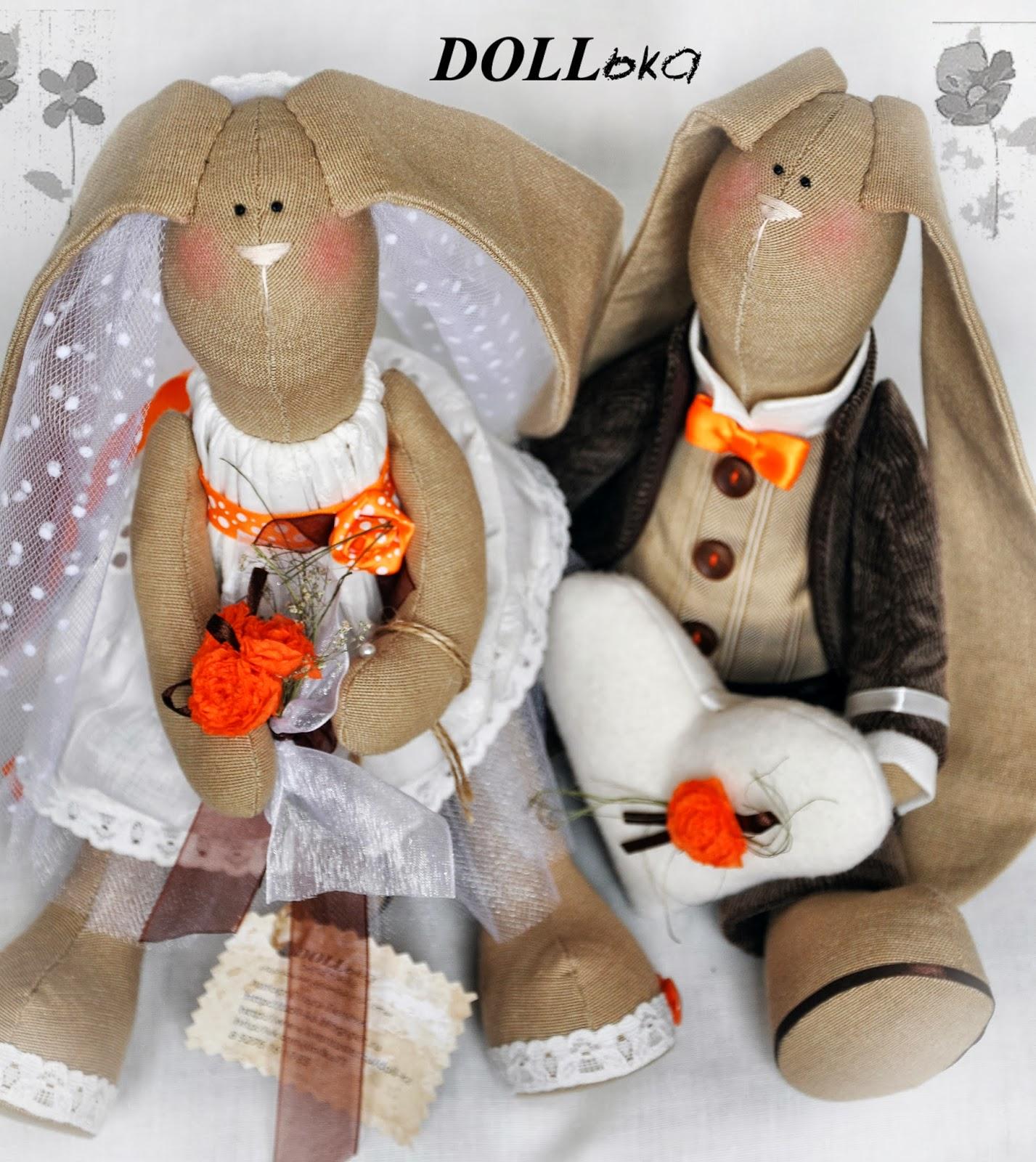 свадебные зайцы тильда текстильные игрушки ручной работы