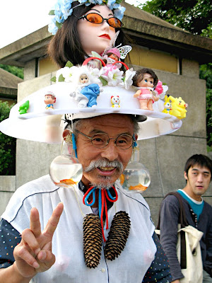 Harajuku Ojisan - Nice old man in harajuku Japan wears crazy doll hats