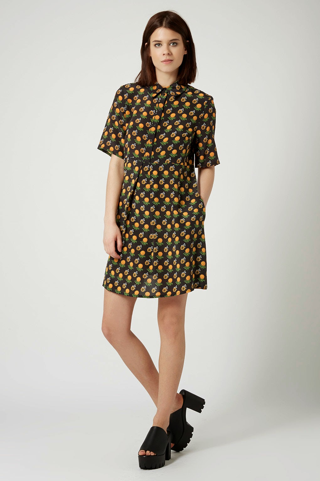 marigold flower dress, topshop boutique shirt dress,