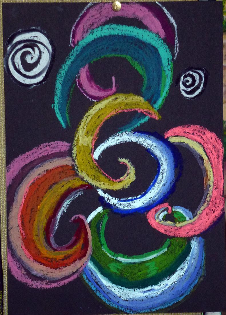 art de vivre la peinture de peintrefiguratif peinture pastel gras abstrait la spirale