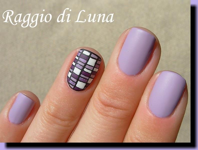 Raggio di Luna Nails: Geometric manicure: Rectangles white & purple