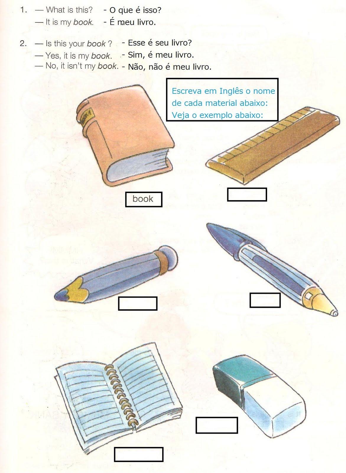 Muito BAAB- ENGLISH: Exercícios - Materiais Escolares GF67