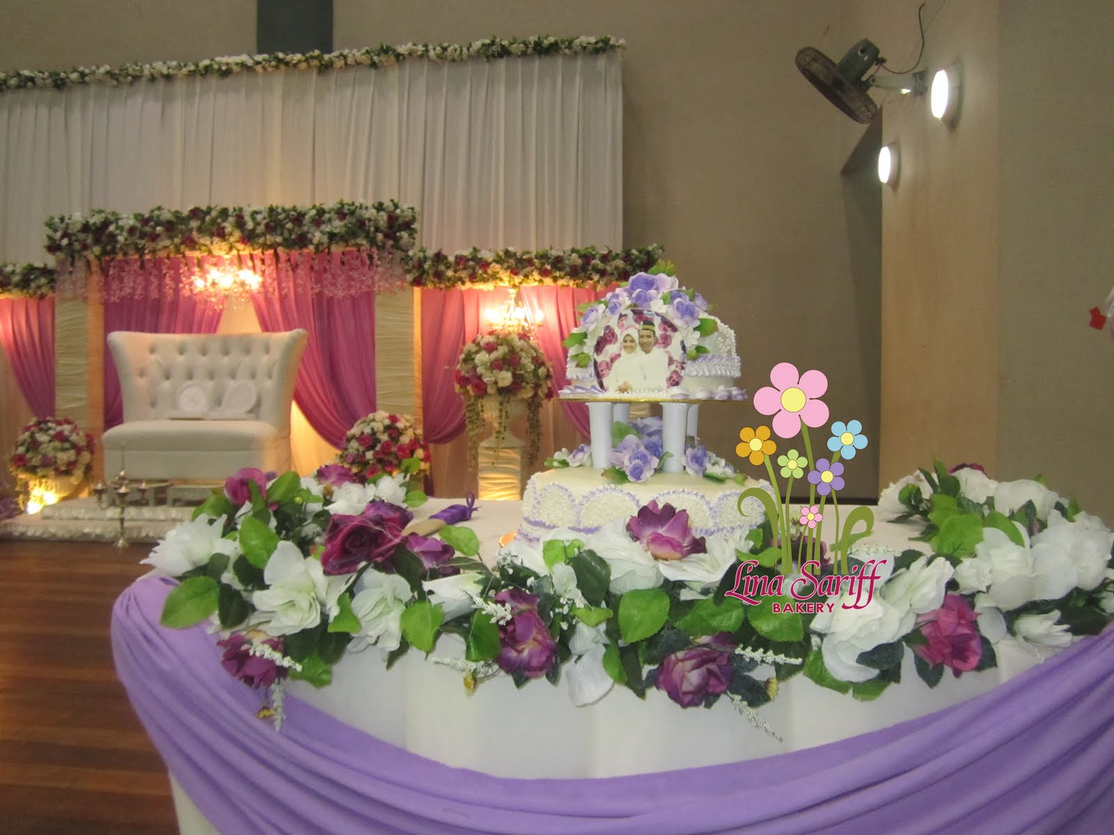 Lina Sariff Bakery 2 tier steam buttercream wedding cake