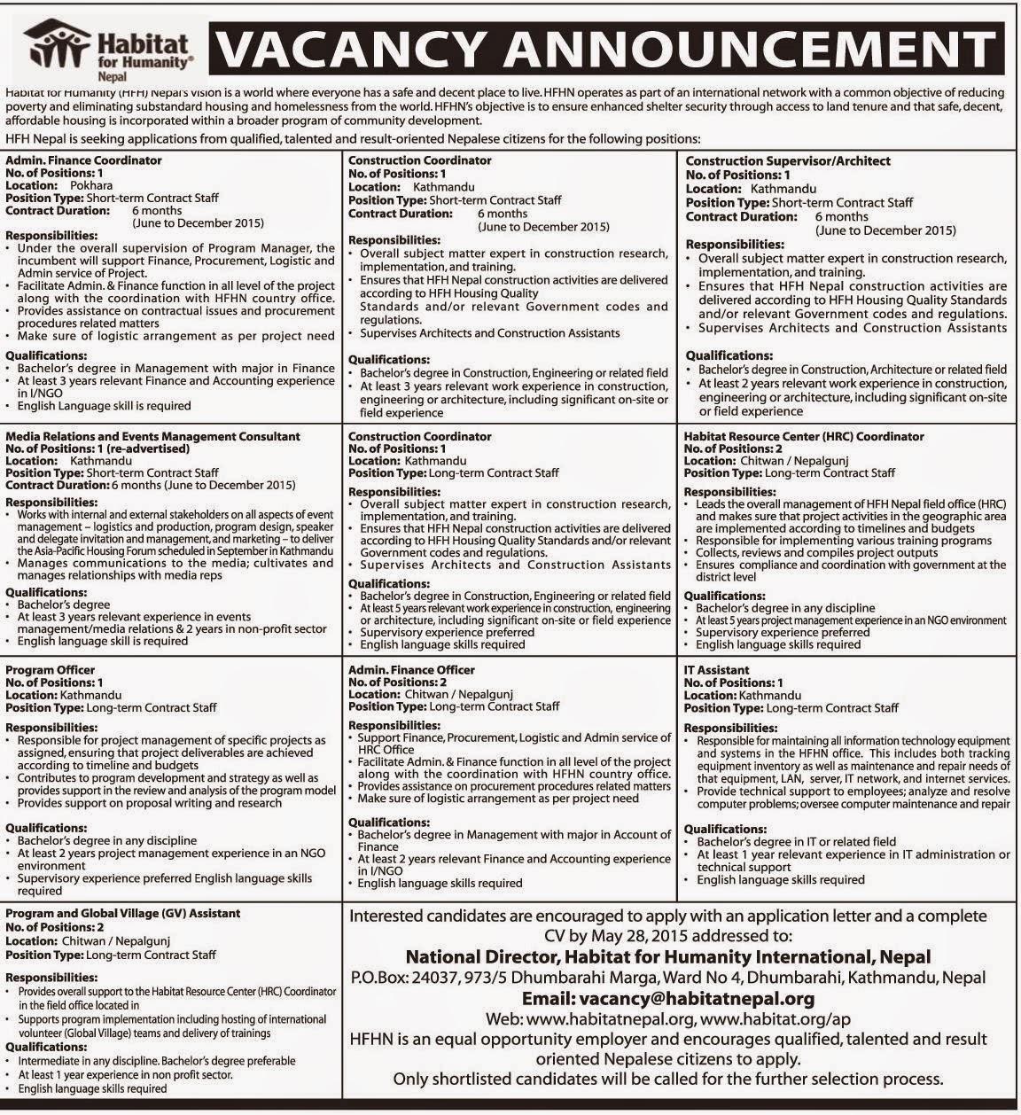 Job Vacancy At Habitat For Humanity Nepal Jobs In Nepal