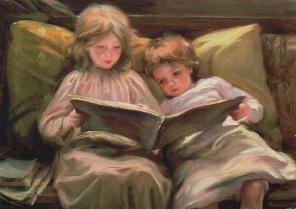 Interesting Story by Laura Muntz Lyall, two little girls reading or looking at a book together