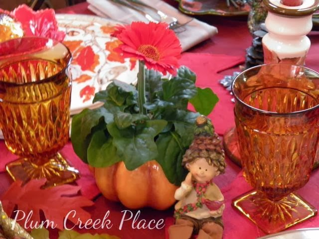 fall elf, fall tablescape, pumpkin planter