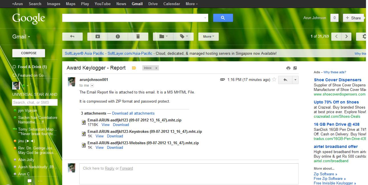 how to send a keylogger to someones email