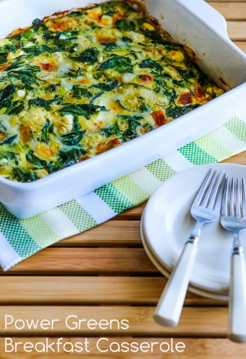 Power Greens Breakfast Casserole with Feta and Mozzarella found on KalynsKitchen.com