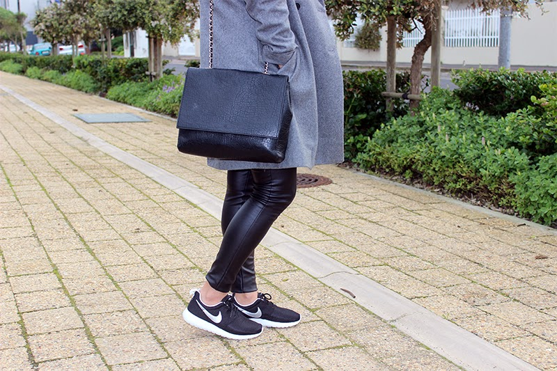 Zara Grey Coat OOTD, fashion blogger cape town, nike roshe run ootd, nike roshe run, zara coat, winter fashion, long ombre hair, leather leggings, casual coat outfit, coat & sneakers ootd