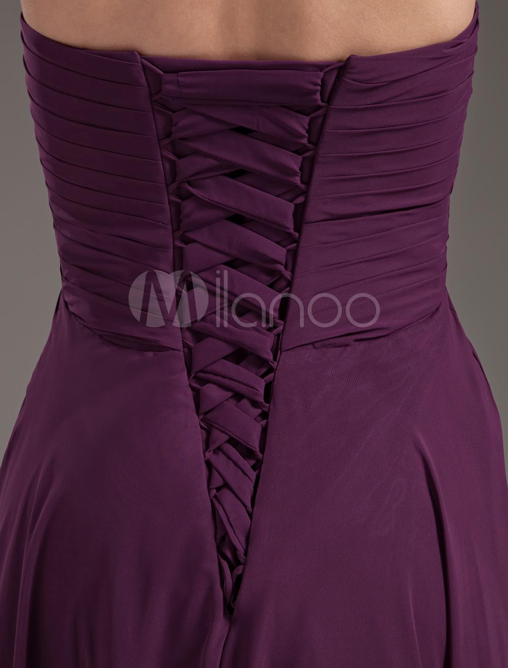China Wholesale Dresses - Empire Waist Grape Chiffon Sweetheart Sexy Bridesmaid Dress