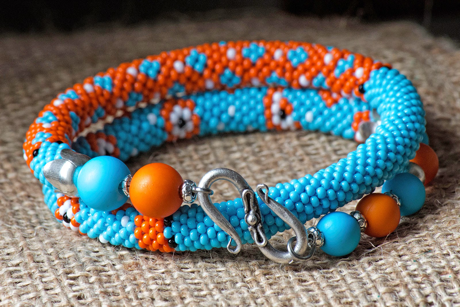 etsy shop beads crochet crocheted rope handmade handcrafted jewellery bracelet jewelry beadwork orange blue seed beads czech fashion chic