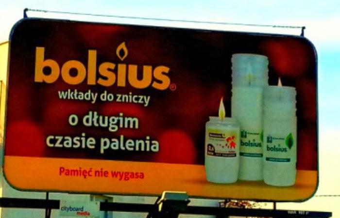 Obraz: billboard reklamujący wkłady do zniczy firmy Bolsius