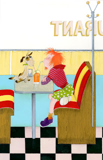 Illustration of a girl and a dog sipping soda at a diner by Robert Wagt
