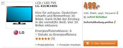 Full-HD-3D-TV LG 42LM340S bei Saturn am Super-Sonntag für 499 Euro