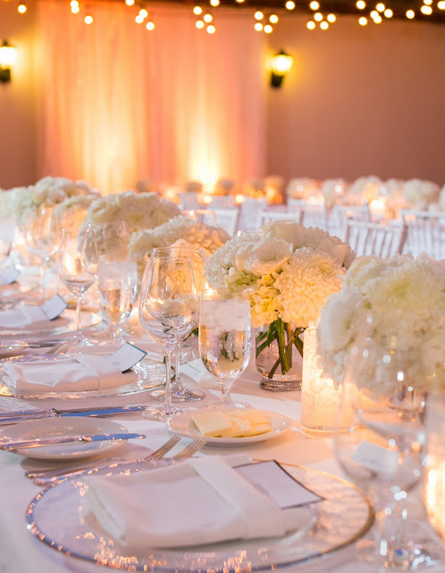 romantic white wedding reception in santa barbara