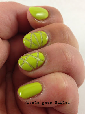 Green Striping Tape Holo Nail Art