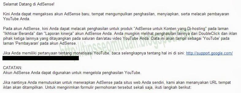 email selamat datang di google adsense