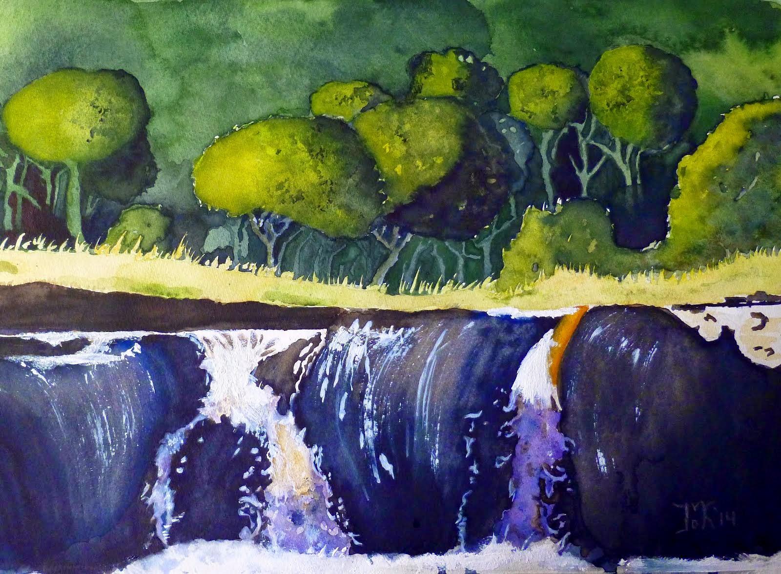 Bos met waterval