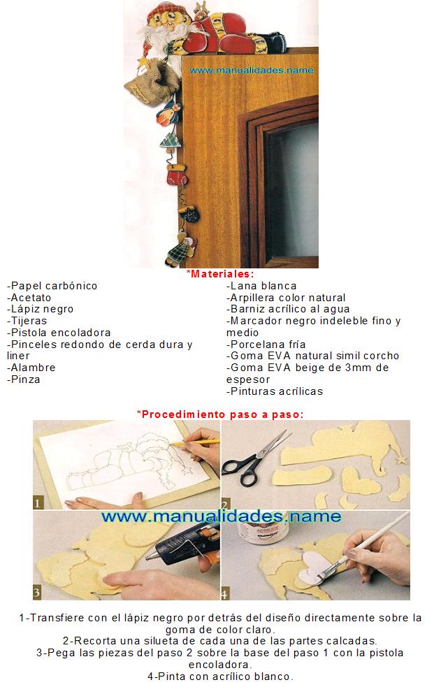 MANITAS CREATIVAS Y ALGO MAS: Goma eva -Adorno de Papá Noel para el ...