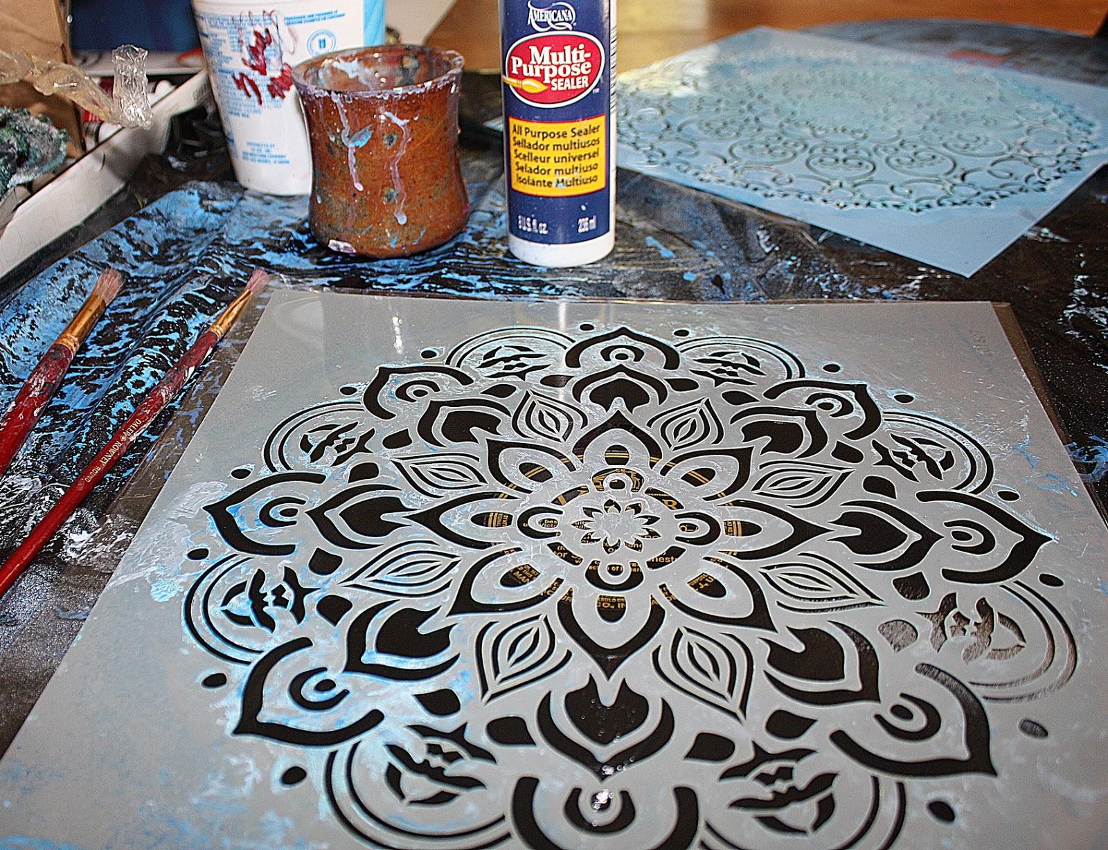 For The First One I M Using A Stencil Americana Decor Mandala