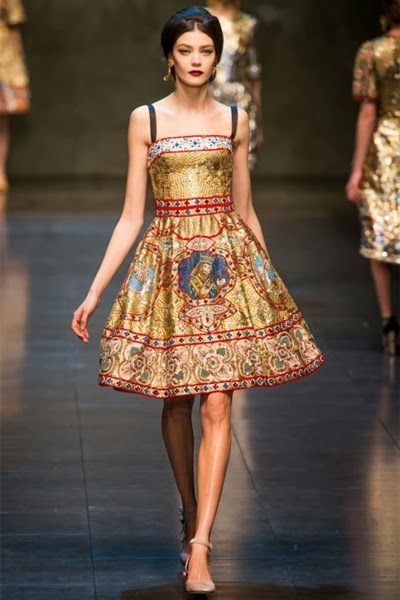 Dolce & Gabbana 2013 AW Embroidered Strapless Dress