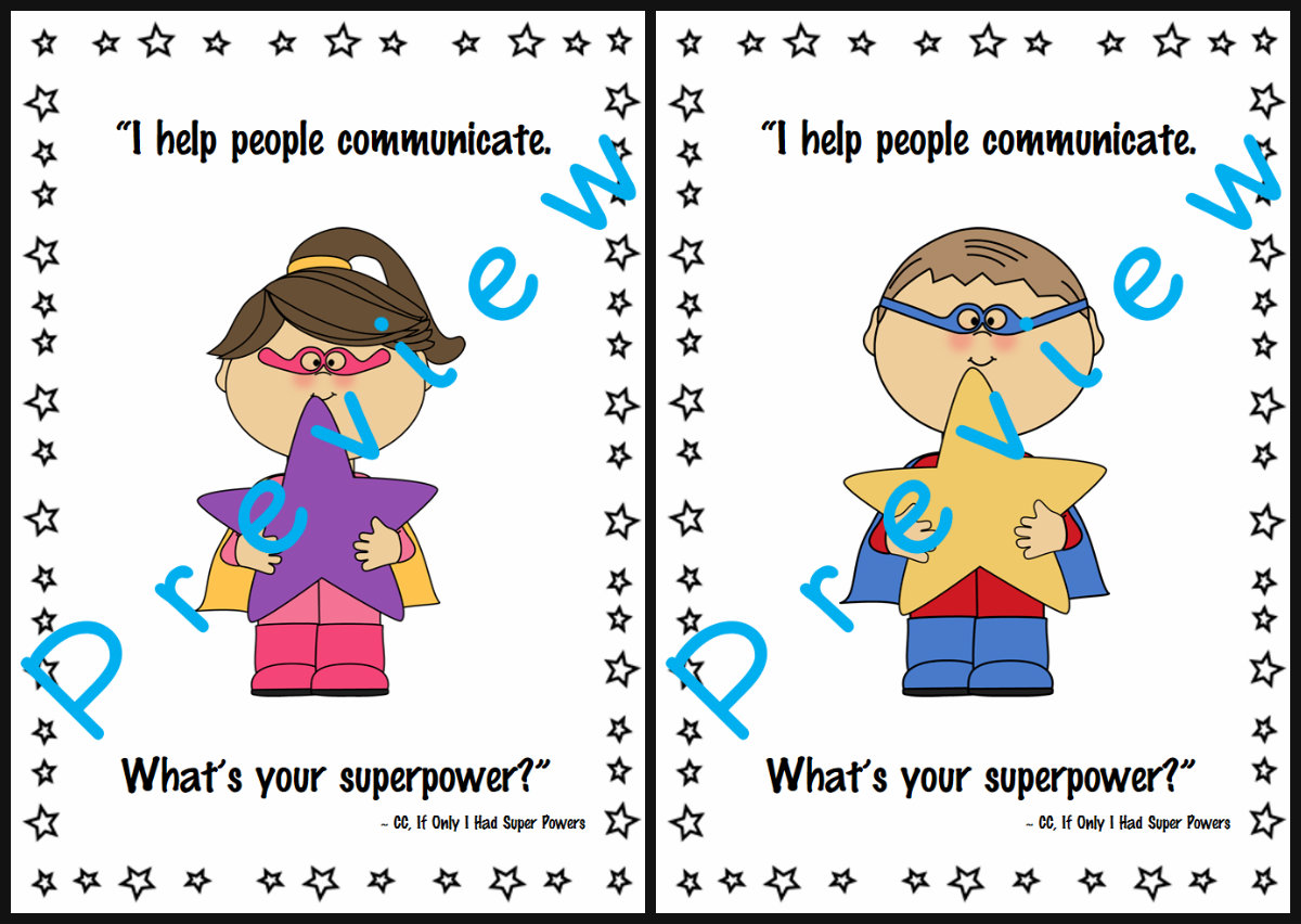 Speech Therapy Quotes Speechie Freebies What's Your Super Power Speech Room Posters