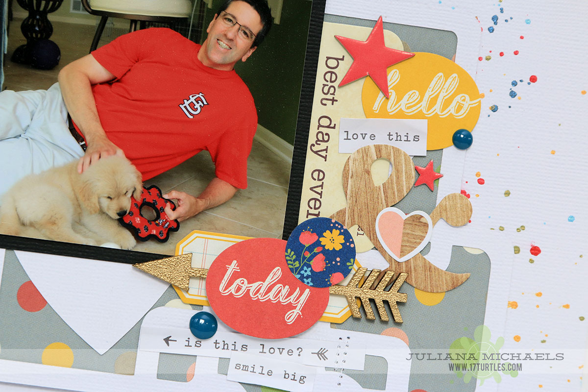 So Happy Puppy Scrapbook Page by Juliana Michaels featuring 17turtles Digital Cut File Heartfelt Background and Simple Stories