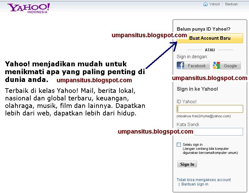 Anda akan melihat tampilan situs Yahoo seperti gambar di bawah ini
