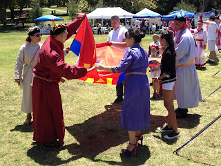 Getting ready to raise the Mongolian flag