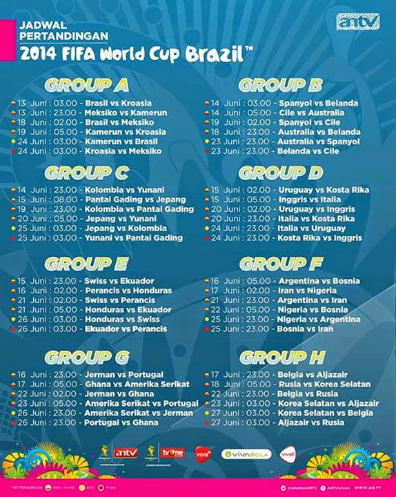 Jadwal Televisi Piala Dunia 2014
