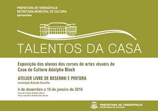 Talentos da Casa 2015: exposição marca encerramento do curso de desenho e pintura em Teresópolis