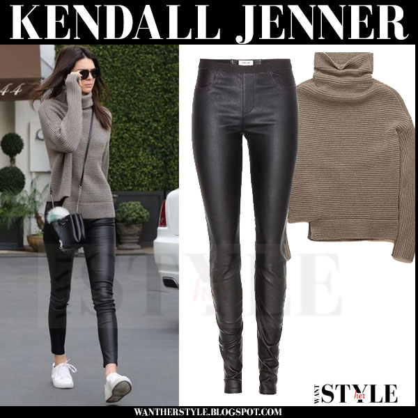 Kendall Jenner in brown knit sweater and black leather leggings what she wore model style