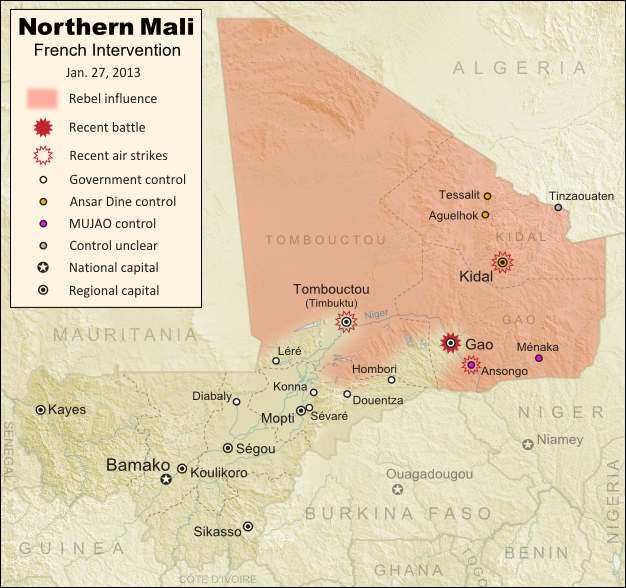 Updated map of fighting and territorial control in Mali during the January 2013 French intervention against the Islamist forces of Ansar Dine and MUJAO. Reflects the Jan. 26-27 recapture of major northern cities Gao and Timbuktu by French and Malian forces.