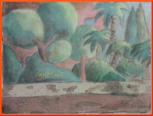 cuadro arboles pintado con ceras pastel