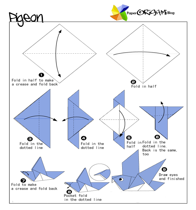 August 2011 paper origami guide for Origami bird instructions
