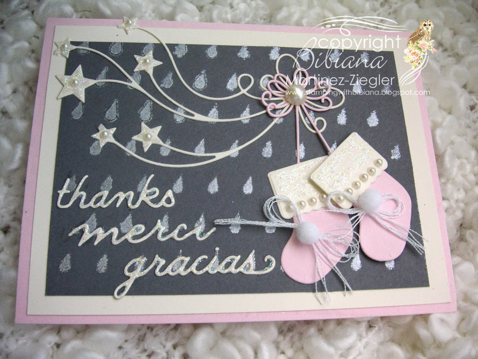 baby card with stockings