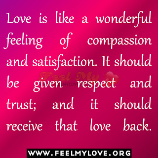 Love is like a wonderful feeling of compassion