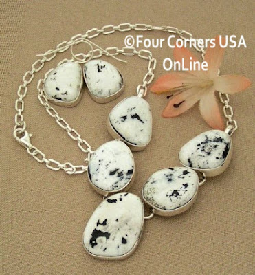 5 Stone White Buffalo Turquoise Necklace Earring Jewelry Set Four Corners USA OnLine Native American Jewelry