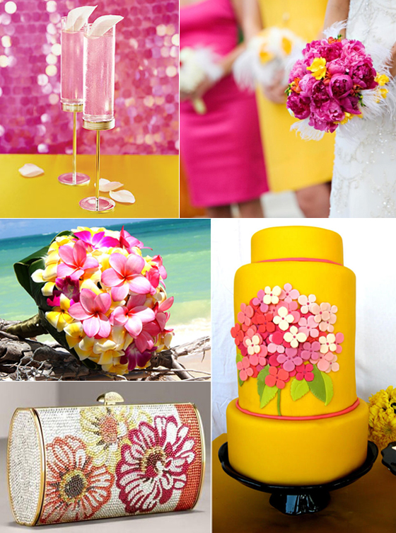Happy thoughts wedding inspirations my pink and for Pink and yellow wedding theme ideas
