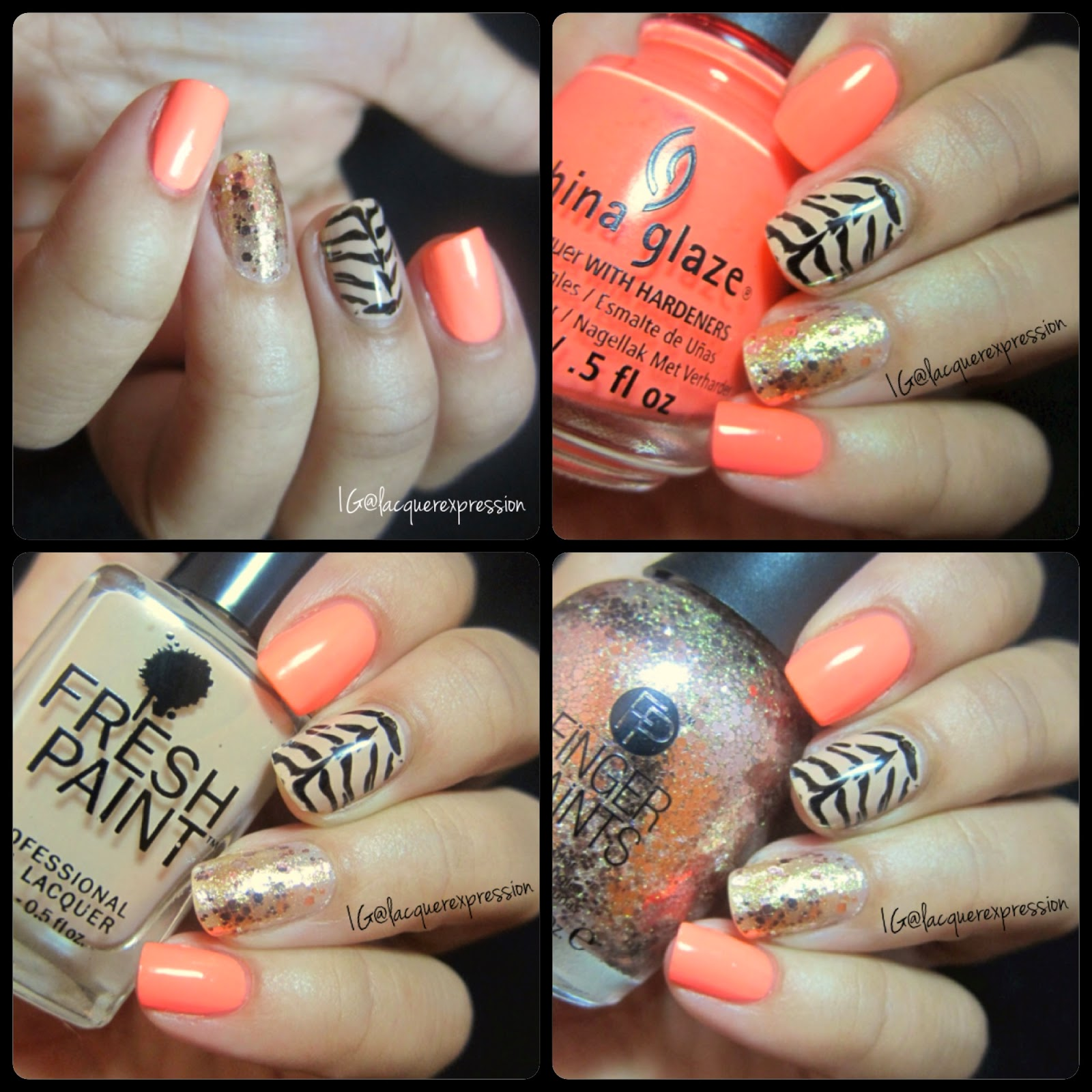 Nail Art - Neon Manicure Featuring Flip Flop Fantasy