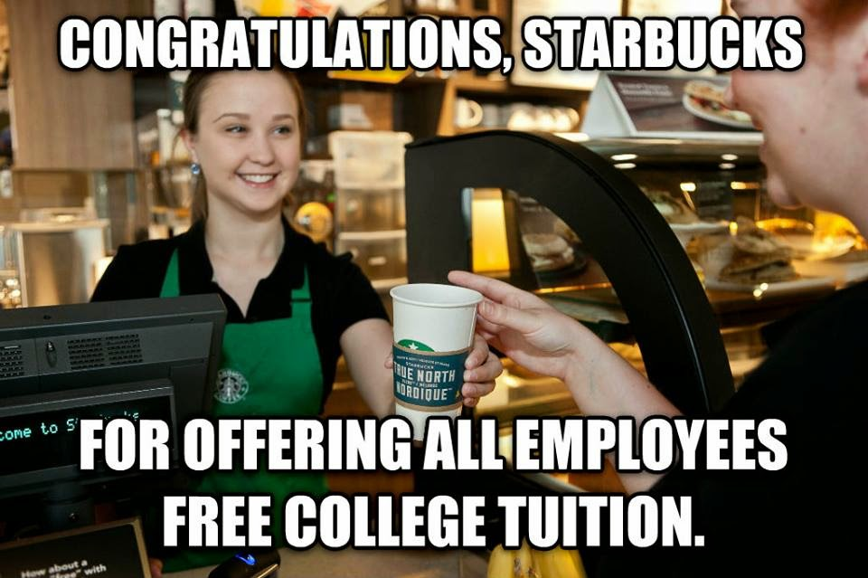 Starbucks To Offer Free College Tuition To 135,000 Employees
