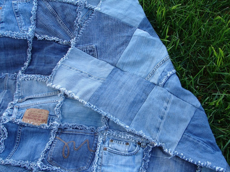 Фото плед из джинсов